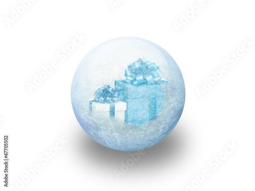 Boule De No L Cadeau Bleu Givr Stockfotos Und Lizenzfreie Bilder Auf Bild 67705502