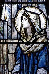 Fototapete - St. Mary (mother of Jesus) in stained glass