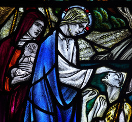 Fototapete - Wonder of Jesus: healing the blind in stained glass