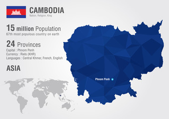Wall Mural - Cambodia world map with a pixel diamond texture.