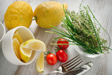 Spices, herbs, lemon