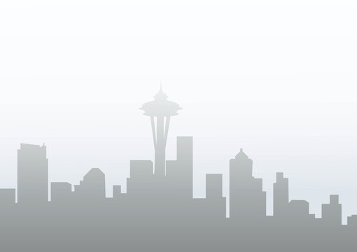 Seattle at Winter Morning-Vector