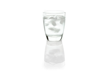 Cool water in glass, isolated