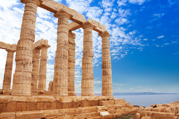 Greek Temple of Poseidon on cape Sounion, Athens