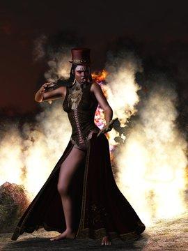 Voodoo priestess with voodoo doll