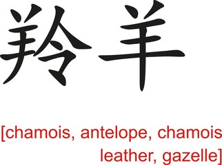 Chinese Sign for chamois, antelope, chamois leather, gazelle