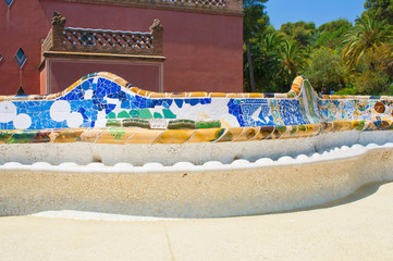 Bench in the Park Guell, Barcelona, Spain