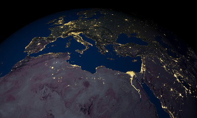 Earth at night over Africa and Europe