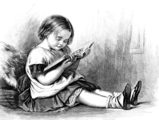 little girl reading a picture book