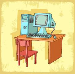 Cartoon computer illustration