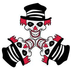 Clown böse Totenkopf Hut