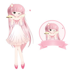 Cute Pink Girl (Anime style)