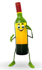 Wine Bottle Character with Salute pose