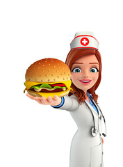 Nurse Character with burger