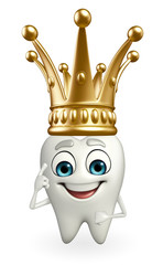 Teeth character with crown