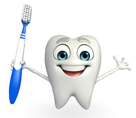 Teeth character with tooth brush
