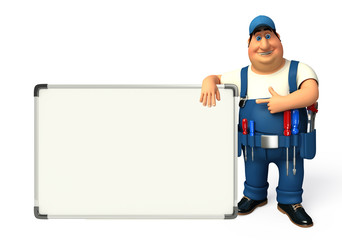 Wall Mural - Young Plumber with display board