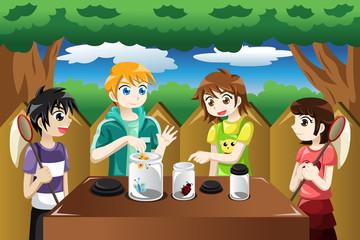 Kids catching bugs