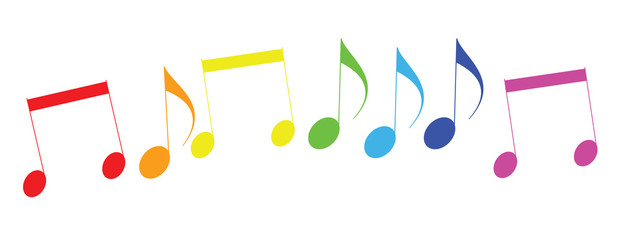 Colored icons of musical notes. Raster