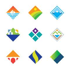 Beautiful wild landscape square window view simple logo icon set