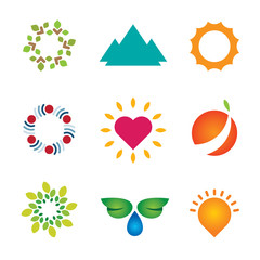 Nature circle green landscape logo mother love icon set vector
