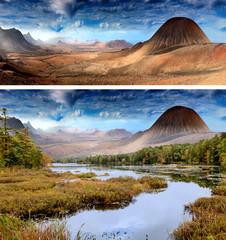 Keuken foto achterwand Fantasie Landschap landscape with lake and mountains