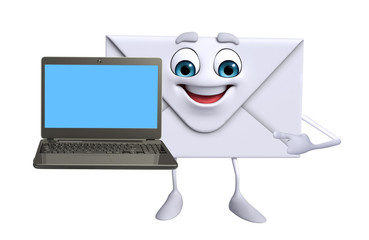 Mail Character with Laptop
