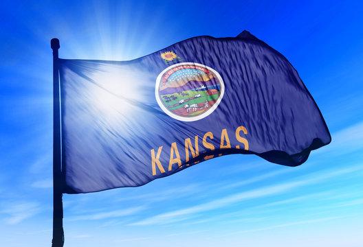 Kansas (USA) flag waving on the wind