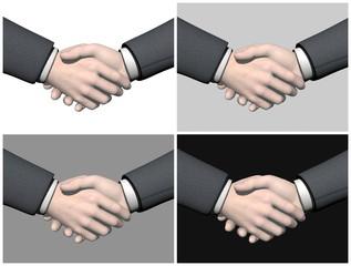 Set of businessman handshake - 3D render