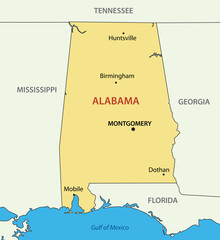 Alabama - vector map