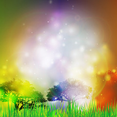 Abstract background with grass and silhouettes of trees vector