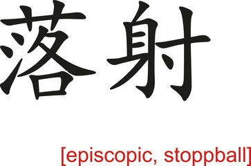 Chinese Sign for episcopic, stoppball
