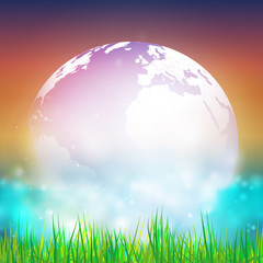 Abstract background of globe with grass vector illustration.