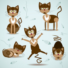 Vector illustration with set of braun cats