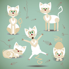 Vector illustration with set of white cats