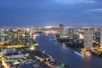 Aluminium Prints Los Angeles Bangkok city skyline Twilight time
