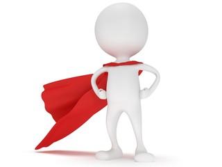 3d man - brave superhero with red cloak