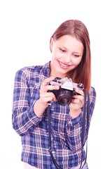 Teen girl with camera