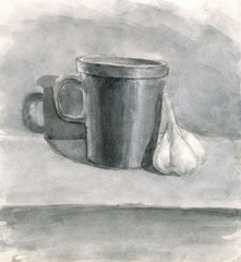 mug and garlic, drawn