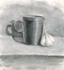 mug and garlic, drawn