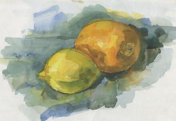 orange and lemon, drawn
