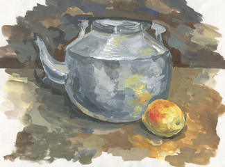 teapot and apple, drawn
