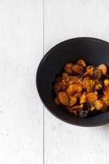 Alternative vegetarian carrots chips vegetable slices in bowl