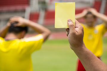 Football Referee warning and recorded
