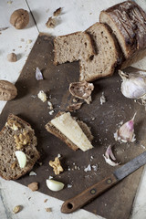 wholemeal bread with walnuts, parmesan cheese and garlic