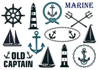 Marine heraldic elements set