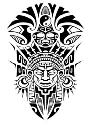 Tribal ancient mask vector illustration