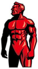muscle man mascot standing