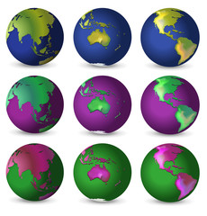 Set of globes in different colours