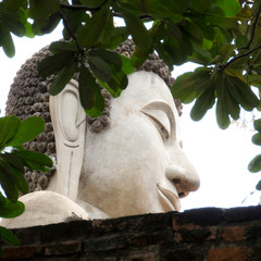 Head of Buddha statue in ancient temple